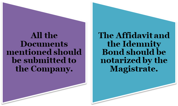 An advertisement should be published in the Newspaper about the fact of the lost Share Certificate