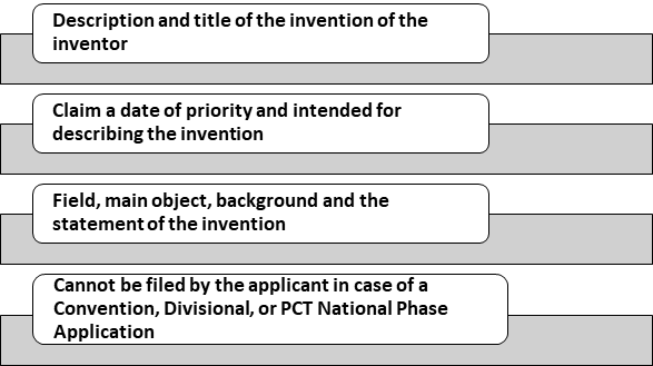 contents of the Provisional Specification of Patent