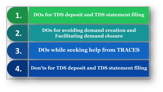 DO sand Don'ts for TDS deposit and TDS statement filing