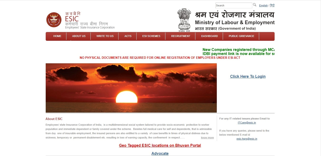 registered on the ESIC portal